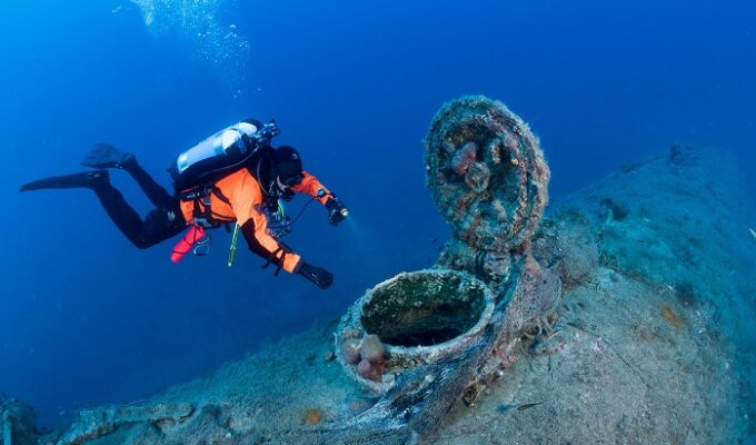 WWII submarine wreck lying in the Ionian Sea, cleared of fishing nets