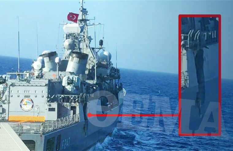 Newly released image exposes full extent of damage on Kemal Reis by Greek frigate 3