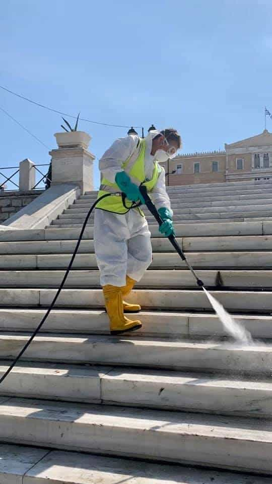 Streets of Athens disinfected to help reduce spread of covid-19