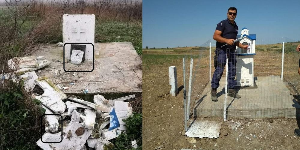 Greek border guards restore small church destroyed by illegal immigrants 1
