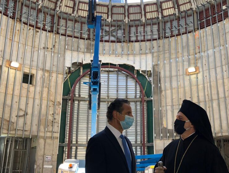 His Eminence Archbishop Elpidophoros blesses construction site of St. Nicholas 1