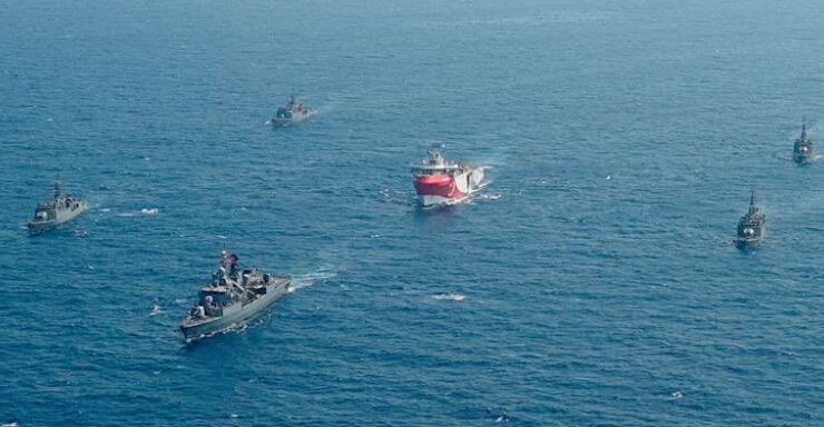 Turkey's Oruc Reis violating Greece's maritime zone.