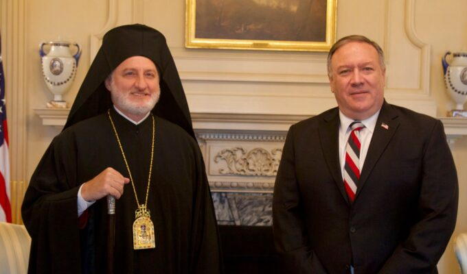 His Eminence Archbishop Elpidophoros of America meets with Secretary of State Pompeo