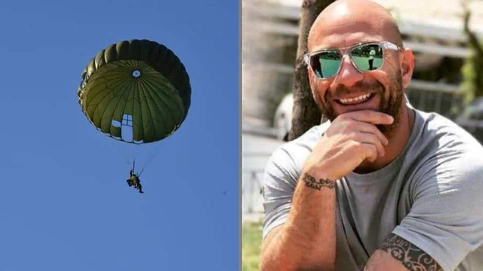 Sadness in Ilida after 34-year-old paratrooper, Konstantinos Meligonis, plummets to his death
