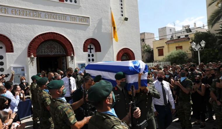 Fitting salute for 34-year-old paratrooper, Sergeant Konstantinos Meligonis' funeral