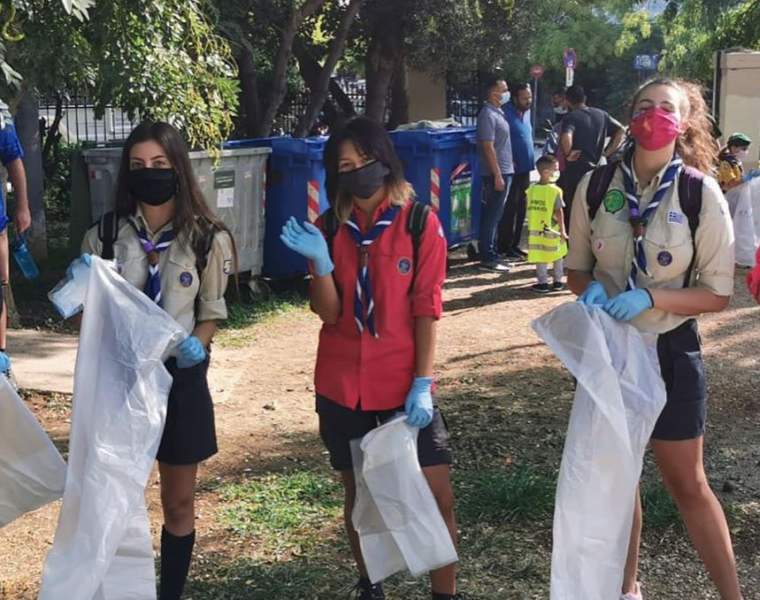 Children volunteer to clean up Plato's Academy Park in Athens