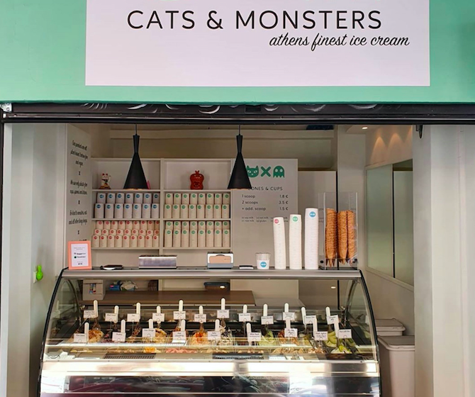 vegan ice cream Athens Cats & Monsters