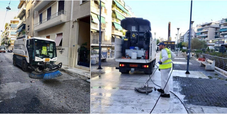 Street cleaning operation in Kato Patisia