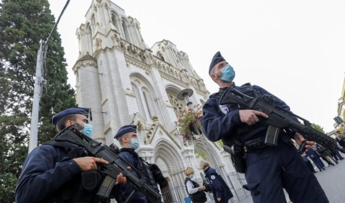 French police outside the Notre Dame Cathedral in Nice.