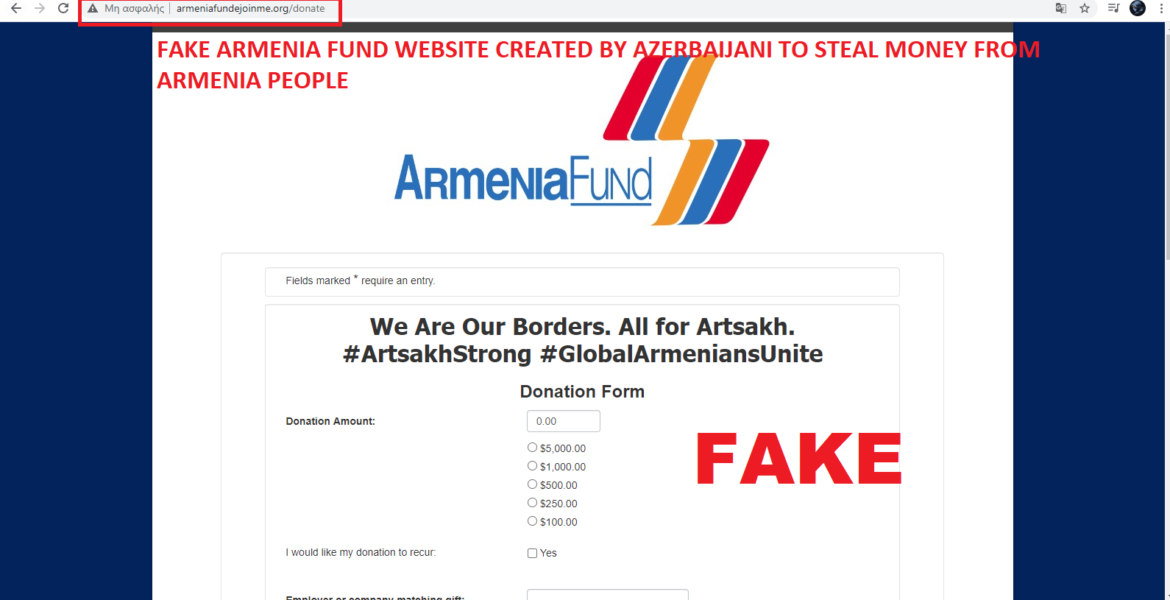 Fake Azerbaijani website stealing money from Armenian charity brought down by Anonymous Greece 1