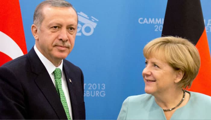 German Chancellor Angela Merkel with Turkish President Erdogan.