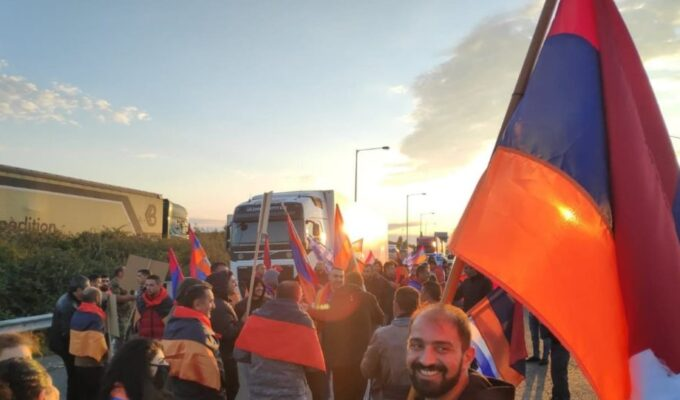 Armenians and Greeks protest at the border with Turkey in Evros 1