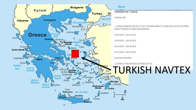 Turkey announces it will conduct live fire drill in the middle of the Aegean on Oxi Day 1