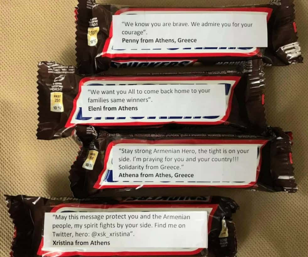 Why are Greeks sending Snickers with messages attached to Armenian soldiers on the front lines? (PHOTOS) 12