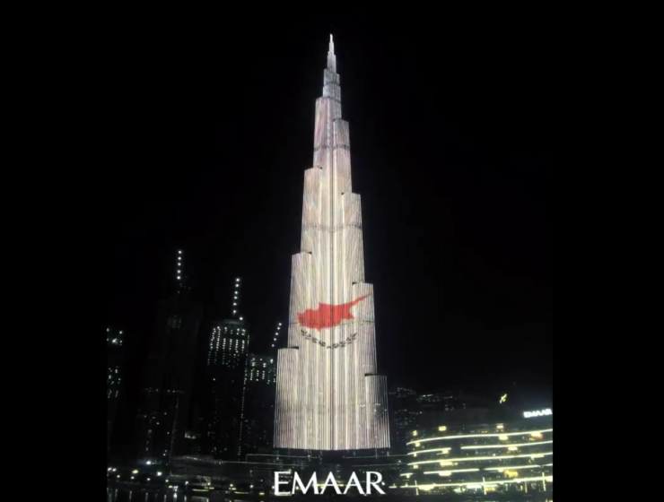 Burj Khalifa lights up with the colours of the Cypriot flag