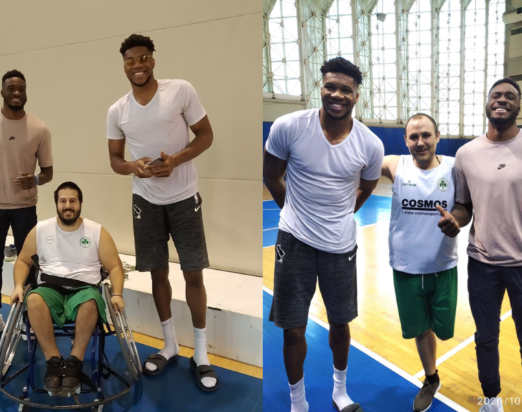 Antetokounmpo brothers visit the Panathinaikos wheelchair basketball team's training session