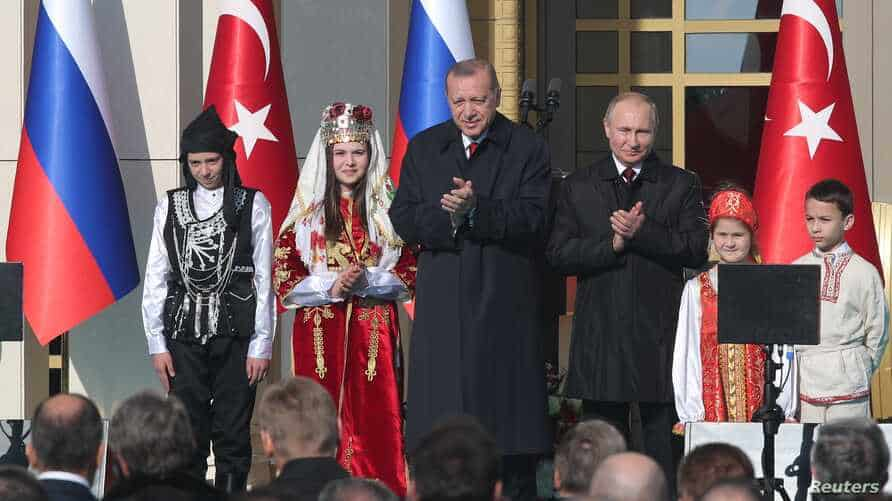 Turkish President Erdogan and his Russian counterpart Putin attend groundbreaking ceremony of the Akkuyu Nuclear Power Plant through videolink, at the Presidential Palace in Ankara