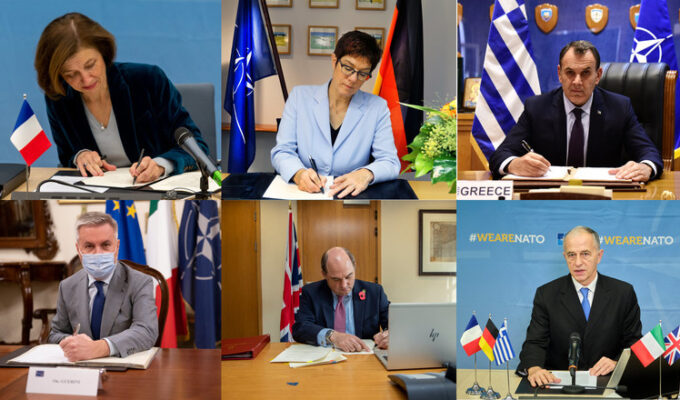 The Defense Ministers of Greece, Italy, France, Germany and the United Kingdom sign letters of intent.