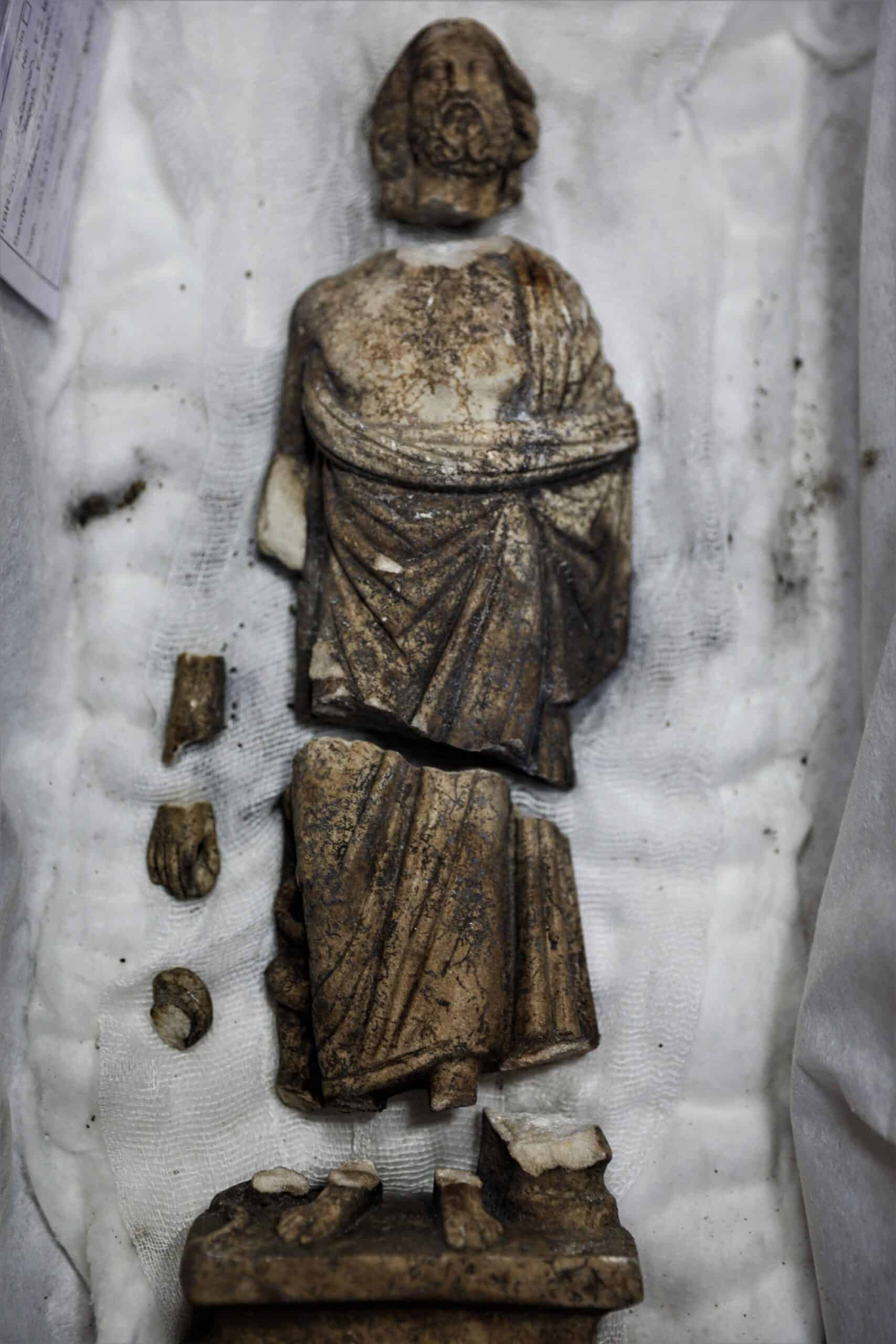 Discovered by Turkish archeologists. The statue of Asclepios is seen in seven pieces, found in the ancient city of Kibyra in Burdur province, southwestern Turkey,