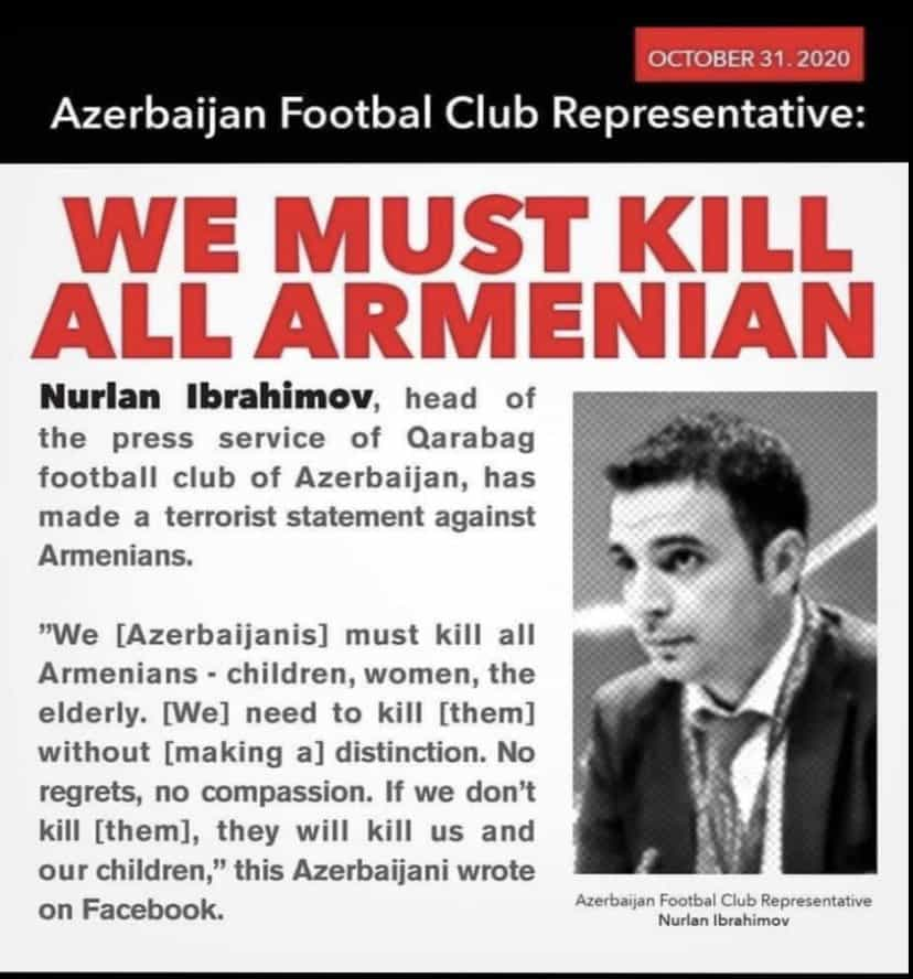 Azeri football official banned by UEFA after calling for all Armenians to be exterminated