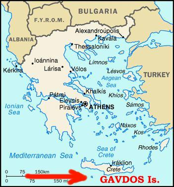 Gavdos, to the south of Crete. Greek