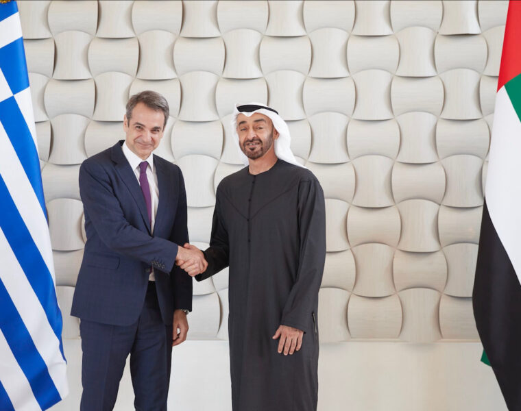 Prime Minister Kyriakos Mitsotakis meets with United Arab Emirates the Crown Prince of the Emirate of Abu Dhabi Sheikh Mohammed bin Zayed Al Nahyan.