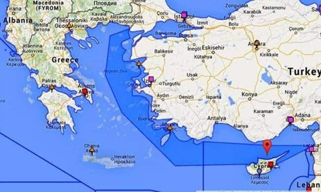 Turkey's illegal Search and Rescue boundary claim over Greece.