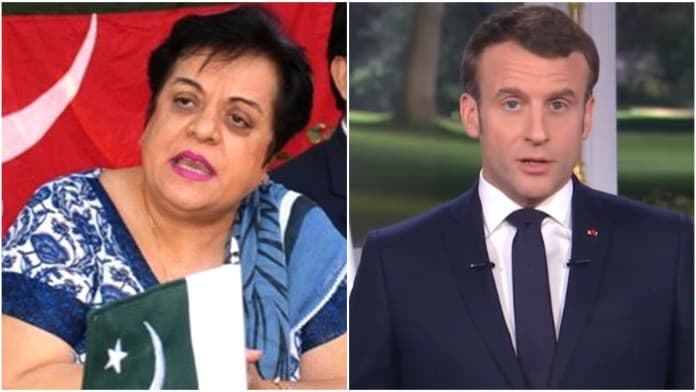 Pakistan's Federal Minister for Human Rights Shireen Mazari and French President Emmanuel Macron.