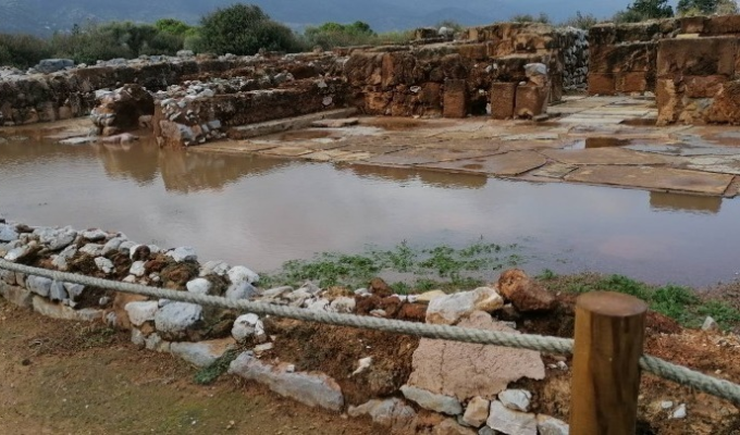 Minoan palace in Malia, Crete floods after failure of drainage system during heavy rain 2