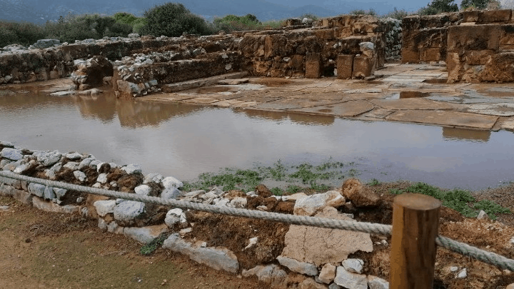Minoan palace in Malia, Crete floods after failure of drainage system during heavy rain 3
