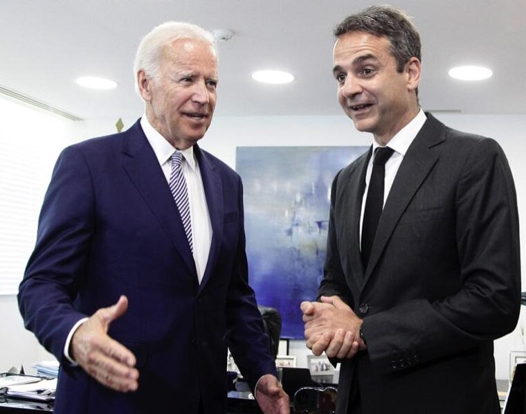 Greek PM Kyriakos Mitsotakis with Joe Biden in the context of the Concordia Europe Summit in Athens, June 6, 2017.
