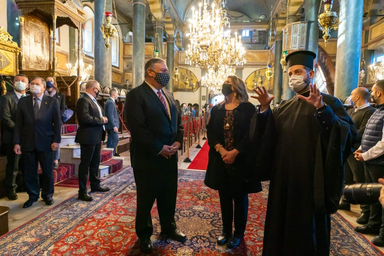 US Secretary of State Mike Pompeo visits the Patriarchal Church of St. George on November 17, 2020.
