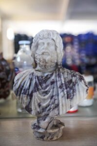 Discovered Zeus-Serapis bust.
