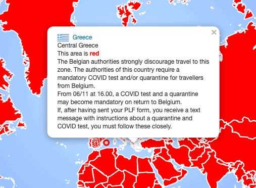 Belgium's list of red travel zones includes Greece
