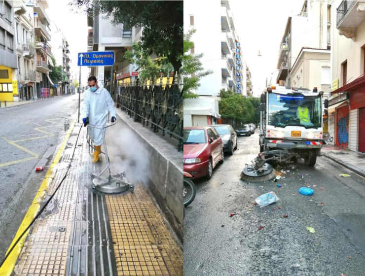 Street cleaning operation in Omonoia, Athens