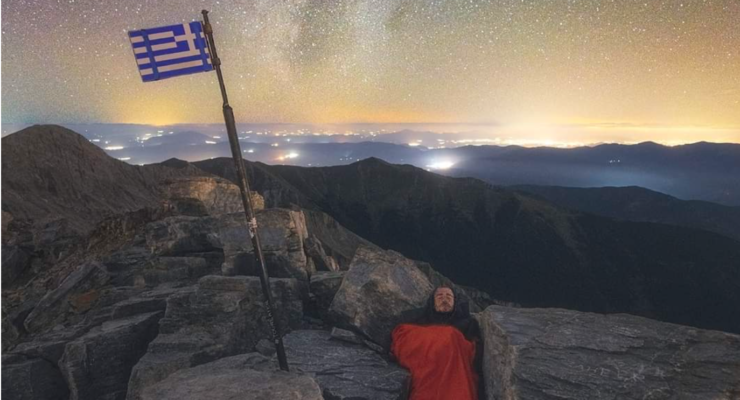 Sleeping under the stars on the top of Mount Olympus