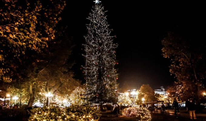 Greece's tallest natural Christmas tree lighting moved online