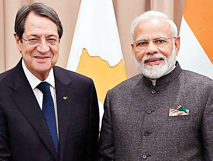 Cyprus Cypriot President Nicos Anastasiades and Indian Prime Minister Marendra Modi.