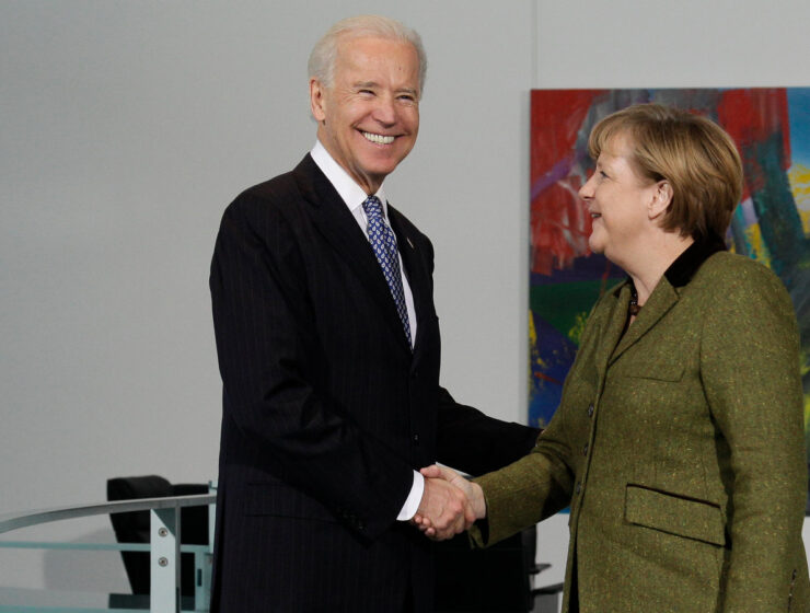 Joe Biden with Angela Merkel. German
