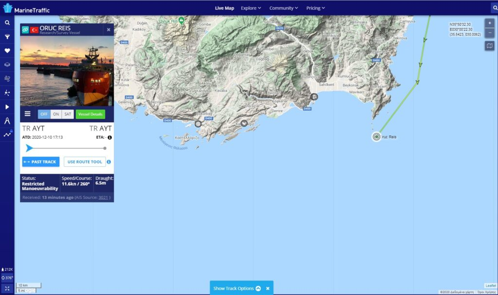 Oruç Reis research vessel has left the port of Antalya towards Aegean 1