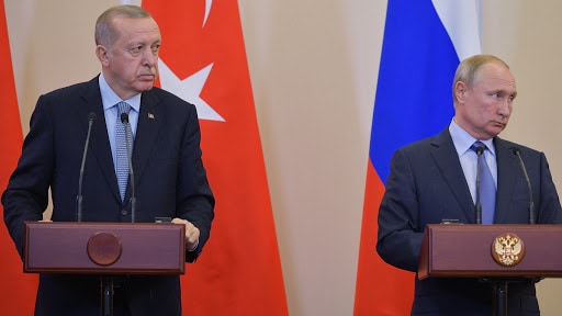 Russian President Vladimir Putin (R) and Turkish President Recep Tayyip Erdogan (L) attend a joint news conference following their talks in the Black sea resort of Sochi, Russia, 22 October 2019. Turkish President is on a working visit to Russia. EPA-EFE/ALEXEI DRUZHININ / SPUTNIK / KREMLIN POOL MANDATORY CREDIT