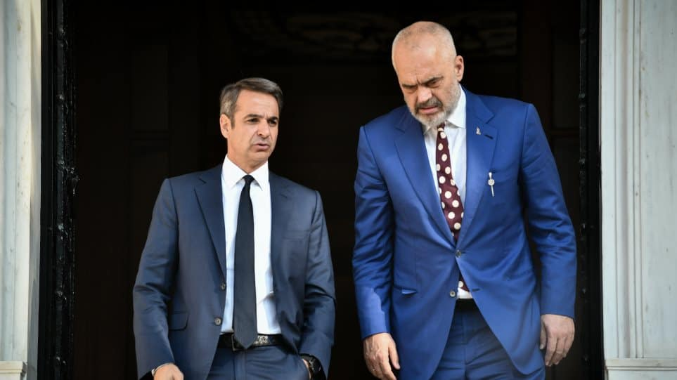 Greece Greek Prime Minister Kyriakos Mitsotakis with his Albanian counterpart Edi Rama.