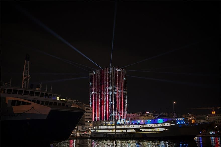 Piraeus Tower lights up for the festive season