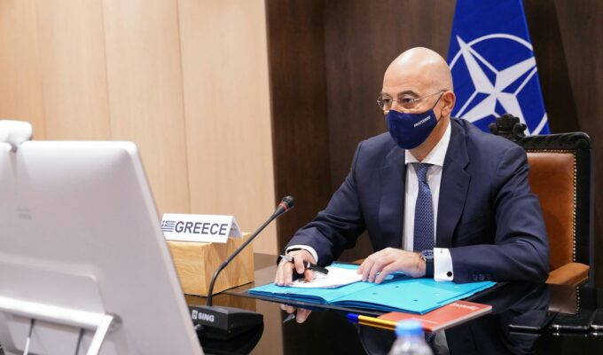 Greek Foreign Minister during the NATO teleconference on December 1, 2020.