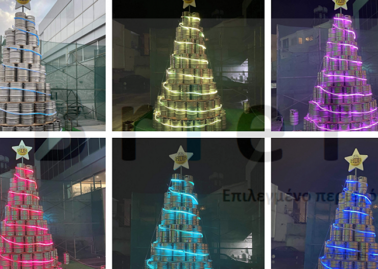 Pub in Nicosia construct a giant Christmas tree out of beer kegs