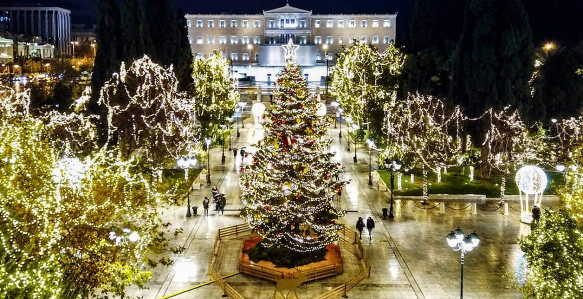 Athens' official Christmas tree lights up for 2020