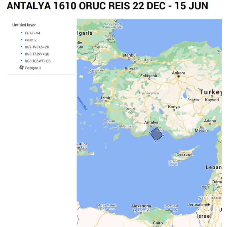 New Turkish NAVTEX for Oruç Reis research for six months Turkey