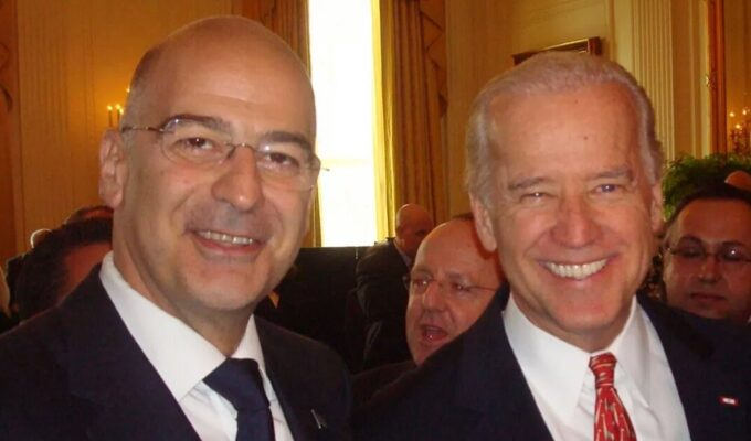 Nikos Dendias and Joe Biden in 2009.