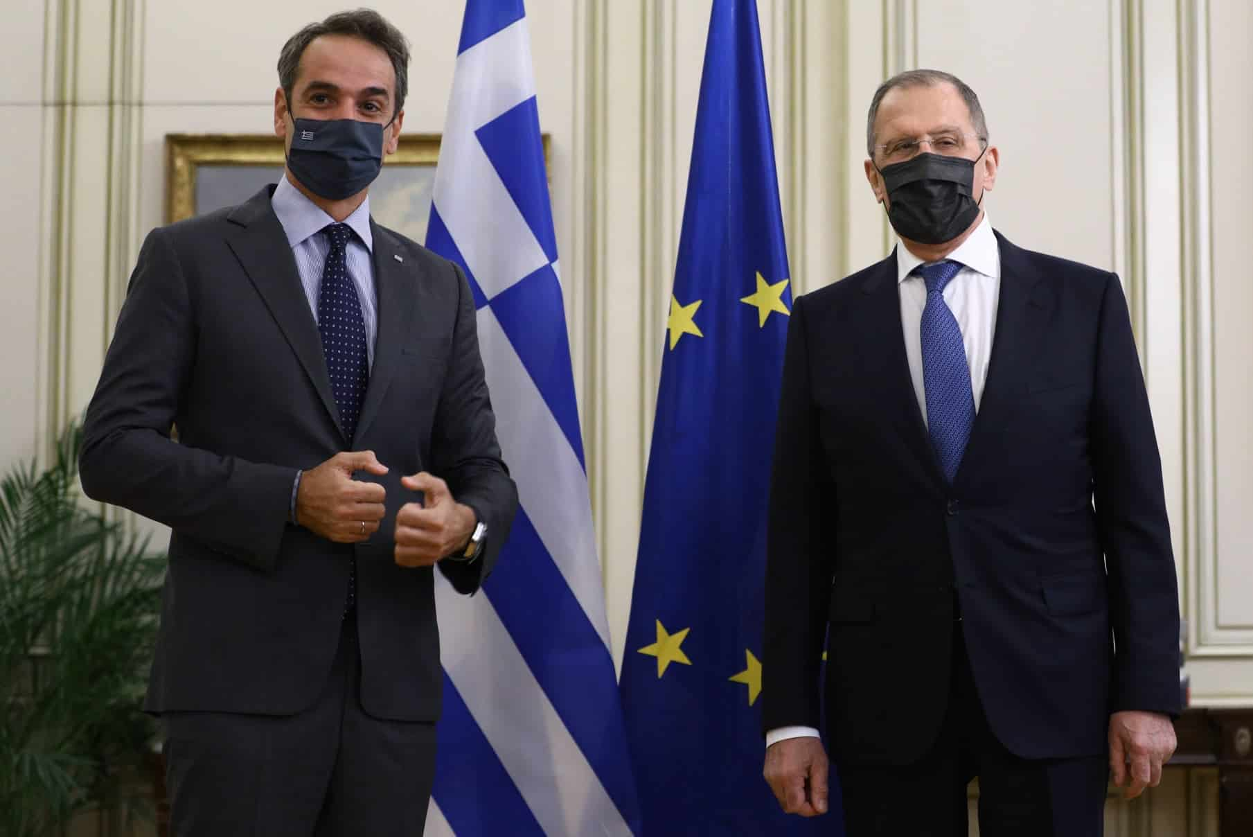 Greek Prime Minister Kyriakos Mitsotakis and Russian Foreign Minister Sergey Lavrov.