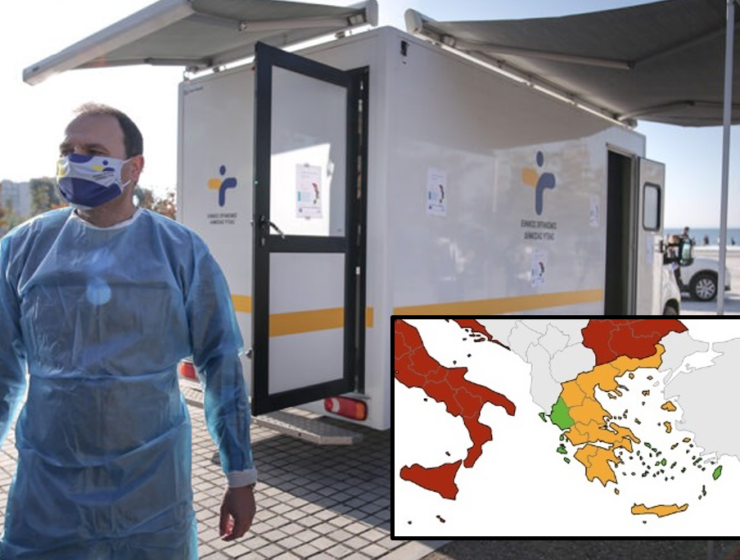 Only Greece shows 'green' zones on European coronavirus map